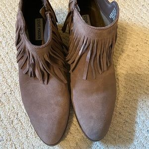 Steve Madden Taupe Suede Fringe Booties